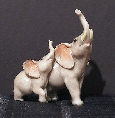 Elephant With Baby Figurine By Chen  New!!