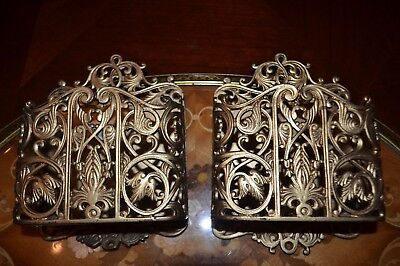 Vintage Cast Iron Wall Pocket Card or Letter Holders (2), Planter, Brass Wash
