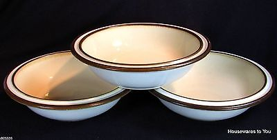 Denby China Madrigal Rimmed Soup Cereal Bowls Set of 3 England