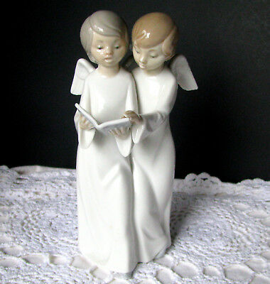 Lladro NAO Angelas Cantores Angels Choir 0193 Figurine Two Angels Singing - Mint