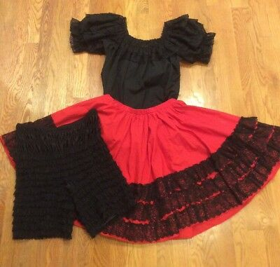 Square Dance Outfit Blouse w/ Lace Ruffles, Skirt & Bloomers Red Black Medium