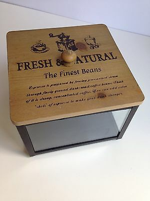 Large Square Glass & Metal Canister w/ Wooden Lid Coffee Beans Design Rustic