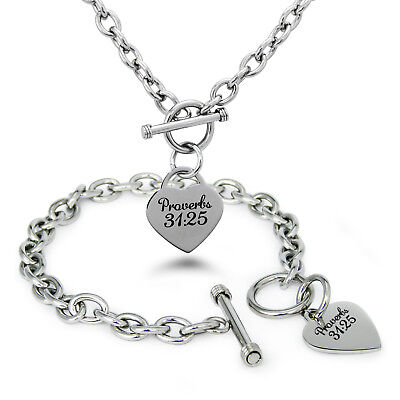 Stainless Steel Strength Proverbs 31:25 Heart Tag Charm Bracelet, Necklace, Set