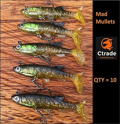 x 10 Vibe lure soft plastics 80mm Mad Mullet paddle tail soft vibe lures rigged