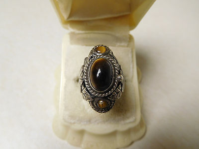 Vintage Signed SBA ? Mexico Sterling Silver Tiger Eye Poison Ring Adjustable
