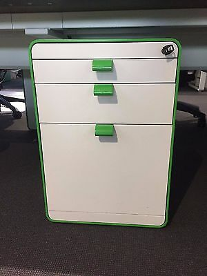 Herman Miller Arras 3 drawer mobile pedestal in white and lime