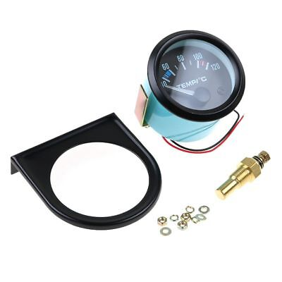 2'' 52mm Universal Car Pointer Water Temperature Temp Gauge Meter 40-120℃ LED DE