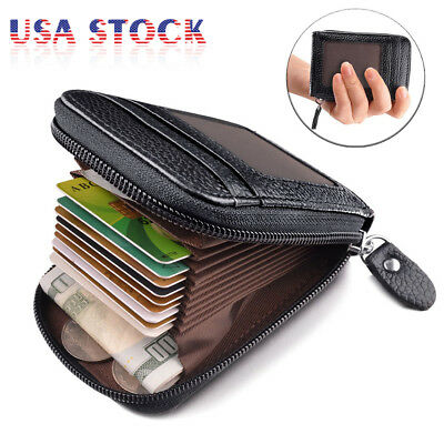 Men Wallet Leather Credit Card Holder RFID Blocking Zipper Pocket w/ ID Window
