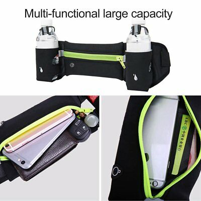 Waist Belt Bag Sport Running Jogging Waist Pack Phone Holder 2 Water Bottles BA