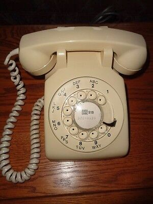 Dial Telephone - Beige/Almond Color - Working