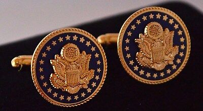 Democratic Blue & Gold Senate Gift Cufflinks~Roped Edging~Black Velvet Gift Box