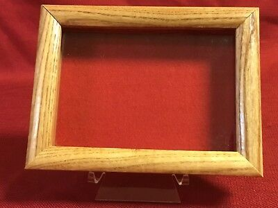 "Oak Wood Shadow Box 6 x 8 x 1 3/4"" for Lures Collectibles & More with Red Felt"