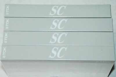 4 x TDK SC180 - 180min Blank VHS Video Tapes - New & Sealed