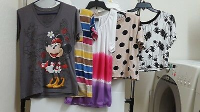 Lot of 5 Blouses- Junior & Women sizes S,M,L, Variety Brands,Disney, Faded Glory