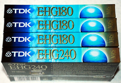 3 x TDK E-HG180 + 1 TDK E-HG240 Blank VHS Video Tapes - Brand New Sealed