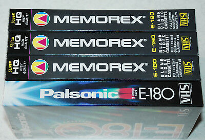 3 x Memorex + 1 x Palsonic E-180 3 Hour Blank VHS Video Tapes  Brand New Sealed