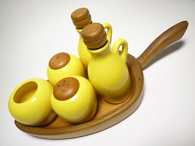 Vintage menage Sweden Schweden wood pottery - vinegar oil salt pepper stand