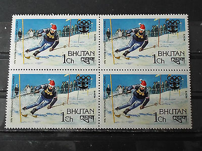 Bloc 4 timbres neuf Bhoutan : Jeux Olympiques d'Innsbruck - Slalom