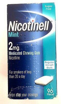 NICOTINELL Mint 2mg Regular Strength Chewing Gum - 96 Pieces EXPIRY 12/2017