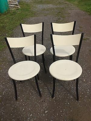 4 Retro Style Kitchen Chairs Wood & Metal 21/8/G