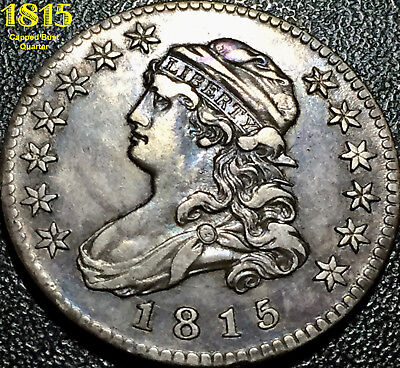 1815 Capped Bust Quarter (B-1) **awesome Au** First Year Of Capped Bust Design!