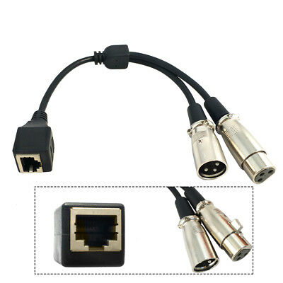 RJ45 Ethernet Female to 3 Pin XLR Female & Male Adapter Converter Cable 0.2m 1pc