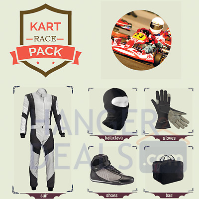 Go Kart Race suit (includes Suit, Gloves,Balaclava & Shoes)free bag-white design