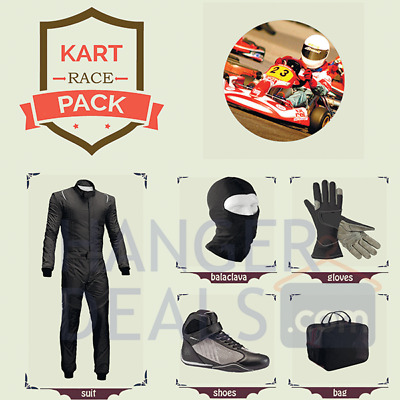 Go Kart Race suit (includes Suit, Gloves,Balaclava & Shoes)free bag- jet black
