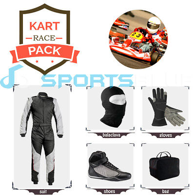 Go Kart Race suit (includes Suit, Gloves,Balaclava & Shoes)free bag- red n white
