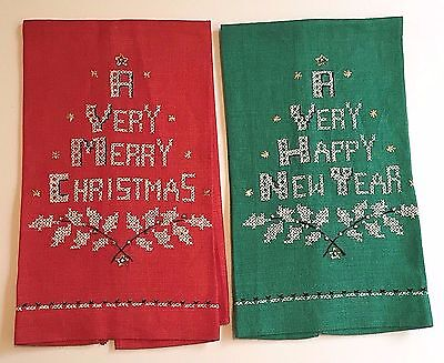 Vintage Cross Stitch Christmas Towels Guest Tea Merry Holly Happy New Year Linen
