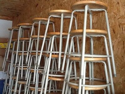 "50 Same Vintage Metal 26"" Stools - Wood 14"" Round Seats - Very Good"