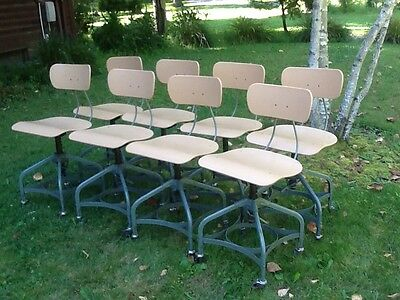 "Lot Of 8 Vtg Matching TOLEDO Drafting Stools On Wheels - Adjust 16"" To 21"" -Nice"