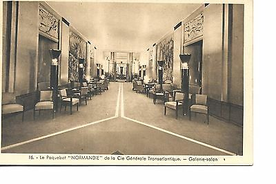 Ss Normandie French  Line   Ocean Liner Linen  Postcard Childrens Salon
