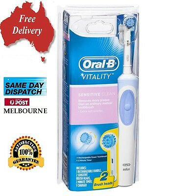 ORAL-B BRAUN VITALITY SENSITIVE CLEAN  RECHARGEABLE ELECTRIC TOOTHBRUSH  2 Heads