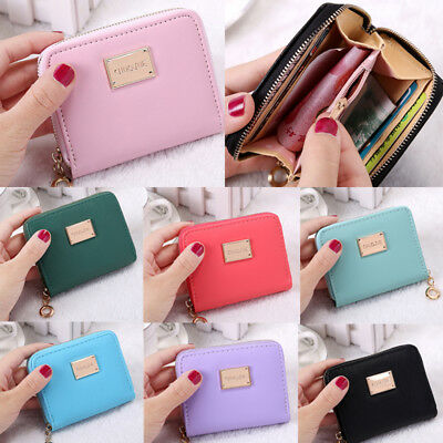 Ladies Kids Women Mini Small Leather Bag Pouch Wallet Coin Key Purse Zip Holder