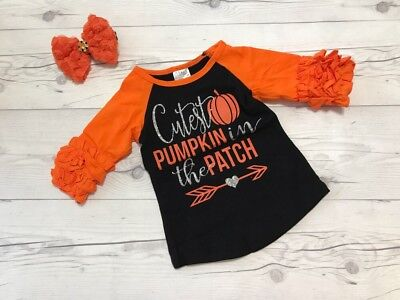 Halloween Cutest Pumpkin In The Patch Orange Toddler Shirt baby girl cotton