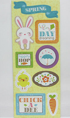 Imaginisce 7 Chipboard Stickers Spring Scrapbooking & Card Making Embellishments