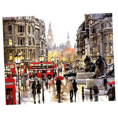 DIY Digital Oil Painting By Numbers Kit London in the Rain Canvas Painting