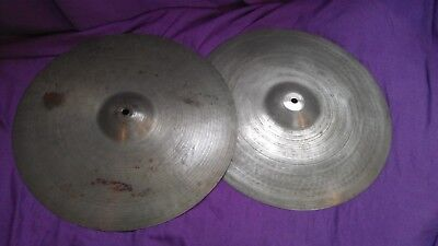 "RARE PAIR Vintage ZYN 15"" hi-hat cymbals Made by Premier gc USED trashy sound!"