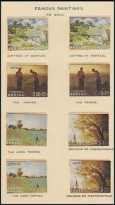 Bhutan 1975 Corn Prayer Painting With Airmail Complete Mint Set