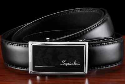 Septwolves men real Genuine cow leather belt Auto lock Buckle black 513132000