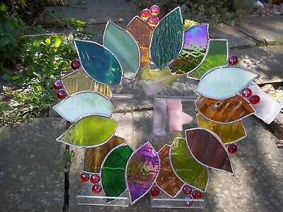 Stained glass Christmas Wreath sun catcher