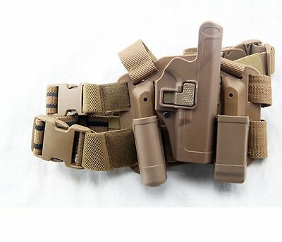 4in1 Tactical Drop Leg Thigh Rig Holster With 2 Pouches for Glock 17 18 19 27