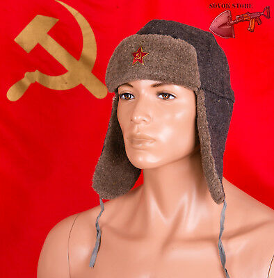 USSR Ushanka hat size 56cm (7 US) Soviet Red Army Russian hat+Red Star