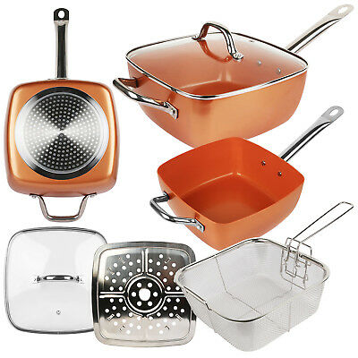 Brand New Induction Copper Coated Non Stick Square Frying Pan With Lid Set Cook