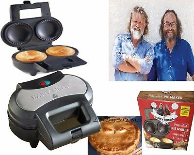Hairy Bikers Black/Silver Electric Deep Fill Non Stick Double 2 Pie Maker Cooker