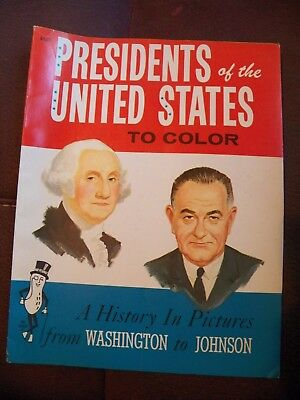 PRESIDENTS OF THE UNITED STATES TO COLOR 1963 Mr. Peanut Washington to Johnson