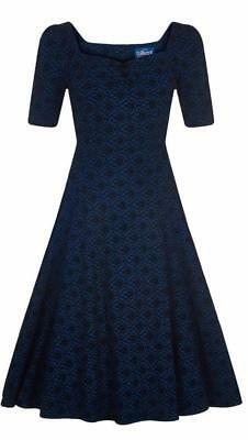 Collectif Dolores 50s Style Doll Half Sleeve Petrol Blue Brocade Dress