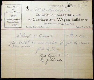 1914 Manhasset Long Island Ny Carriage Wagon Builder Schneider W.a. Kissam