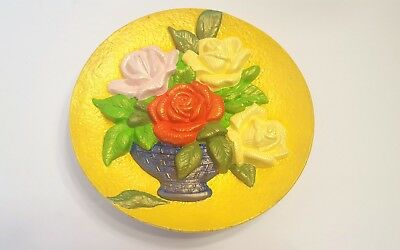 """Chalkware Wall Plate Yellow Red Purple Roses In Blue Planter 7 1/2"""" Flowers"""